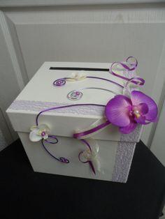 Urne pour mariage - ivoire violette et parme - orchidée : Autres accessoires par sophialaura Money Box Wedding, Wedding Boxes, Wedding Favors, Wedding Decorations, Flora Bridal, Bridal Party Dresses, Pink Themes, Diy Gift Box, Baby Wedding