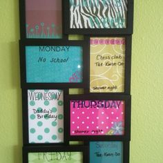 Your week homemade bulletin board. Good for dinner menu for the week or for busy Mom's to plans kids week at a glance.