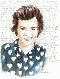 "Harry Styles watercolor portrait with ""Something Great"" lyrics"