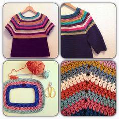 One piece sweater Crochet Jumper Pattern, Jumper Patterns, Dishcloth Knitting Patterns, Crochet Blouse, Crochet Motif, Crochet Patterns, Pull Crochet, Crochet Girls, Crochet Woman