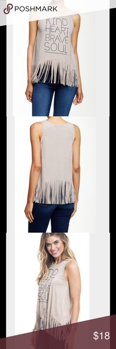 "🌹POSH🎉SALE🌹 Love On A Hanger Tank A sleeveless crew neck top is cut from vegan suede, then styled with a slogan screen print and paper shredder fringe at the hem. Crew neck, sleeveless. About 24"" length. 95% polyester, 5% spandex. Hand wash cold. Fits true to size. Pebble color. love on a hanger Tops Tank Tops"