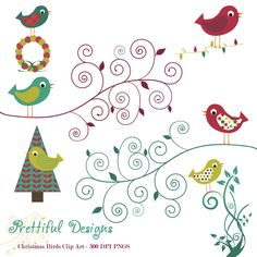 Christmas Bird Clip Art - Personal or Commercial Use - Deck The Halls (415). $3,50, via Etsy.