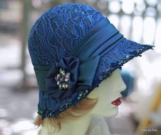 e5c01ca4 20's Cloche Hat Evening Wedding Formal Fancy Dressy Midnight Blue with Lace  Sequins Wedding Hats,