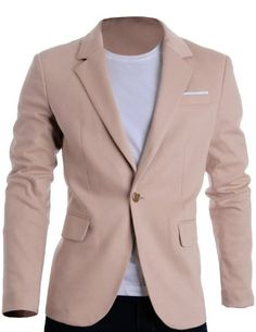 FLATSEVEN Mens Slim Fit Casual Premium Blazer Jacket Beige, L (Chest 42) #FLATSEVEN http://www.flatsevenshop.com/blazers/ #mensfashion #clothing #fashion #men #jacket #BLACKFRIDAY