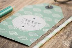 faire-part garçon LE PETIT MOT by Pastilles et Petits Pois - personnalisé avec des nuages vert d'eau