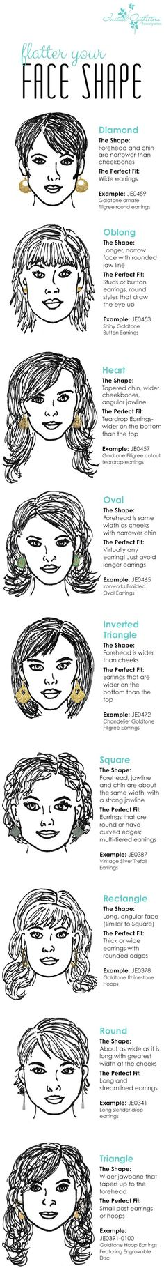 Flatter your face shape! The perfect earrings for your face shape. Plus Style Accessories Course jewelry_necklace, Premier Jewelry, Premier Designs Jewelry, Beauty Secrets, Beauty Hacks, Makeup Tips, Hair Makeup, Hairstyles With Glasses, Hairstyles For Face Shapes, Heart Shaped Face Hairstyles