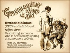 Grandiloquent Word of the Day: Krukolibidinous (KRUK Unusual Words, Rare Words, Unique Words, Beautiful Words, Short Words, Big Words, Cool Words, Word Up, Word Of The Day