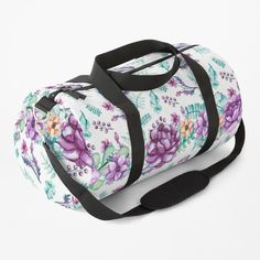 Purple Peonies, Purple Bags, Gym Bag, Watercolor, Printed, Elegant, Awesome, Gifts, Stuff To Buy