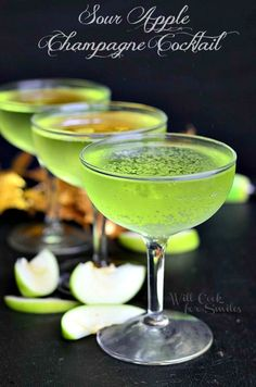 Sour Apple Champagne Cocktail | from willcookforsmiles.com #cocktail #champagne