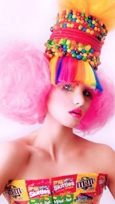 Skittles Hairdo and chocolate bandeau #candy #hair #colors