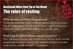 Beefsteak Club tip of the week - The rules of resting #steak #cooking #tips