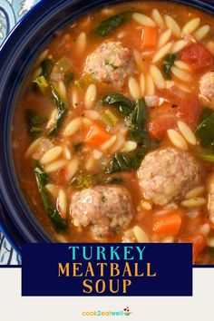 This turkey meatball soup is light but satisfying. In addition to the ground turkey meatballs, this wholesome soup is loaded with vegetables, orzo, tomatoes, spices and greens. The spinach in this meatball soup ups the nutrient value plus it adds some vibrant color. It's an easy to make, flavorful soup the whole family will enjoy.