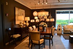 New lighting! Shown with new Modern Glamour Barrymore dining table and Drew chairs.