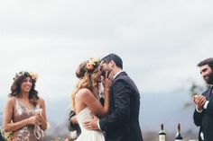 Brook and Brad's Ojai Valley wedding was exactly the festive party they hoped to throw, complete with an outdoor ceremony, live music, and dinner under the