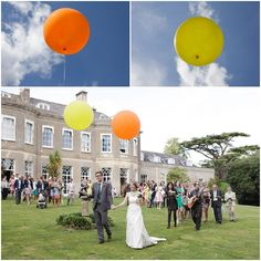 Sophie and Tom's Colourful Fairtrade Wedding With Big Balloons and Billy Balls. By Howard Lucas