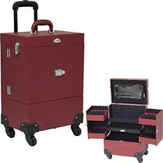 Red Leather Like Nail Polish Tools Rolling Storage Case Trolley >>> Be sure to check out this awesome product. (Note:Amazon affiliate link)