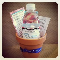 Visiting Teaching - Come Grow With Us Idea. Water bottle with free printable to download for labels. There's also a cute nutrition label printable that lists visiting teaching skills. Very creative!