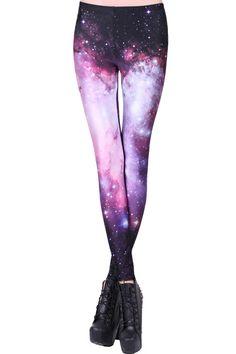 ROMWE | ROMWE Galaxy Print Purple Leggings, The Latest Street Fashion