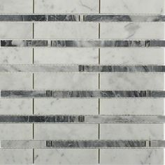 Shop 12 x 12 Rattan Polished Marble Tile in White Carrera with Dark Bardiglio at TileBar.com.