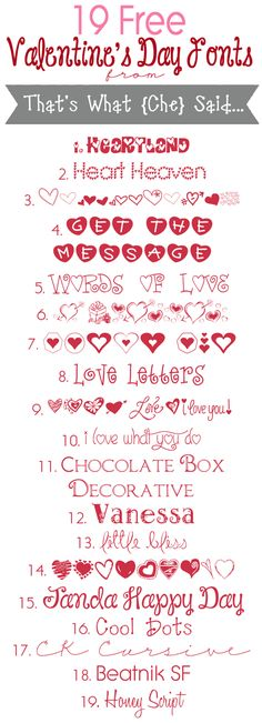 Free Valentine's Day Fonts || That's What {Che} Said ~~ {19 free fonts w/ easy download links}