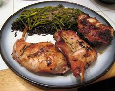 Grilled Rabbit With Rosemary and Garlic from Food.com:   								Another game recipe, for the game lovers.