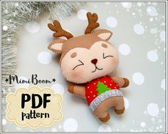 This is a digital tutorial on how to make Rudolph the reindeer Christmas ornament from felt Included step by step instructions, pictures and full size pattern pieces. (no need to enlarge or resize). Its completely hand sew and you dont need a sewing machine. THIS IS NOT A FINISHED TOY. THIS IS A PDF PATTERN DOWNLOAD. All needed materials you must to purchase yourself. Approx. size of toy is: about 5.5 inch (14 cm) tall. PDF tutorial includes: - Step by step pictures - English step by step...