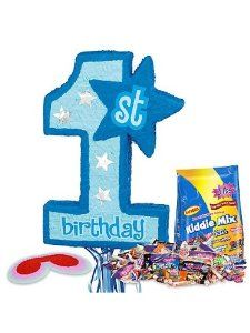 Boy's 1st Birthday Pinata Kit by COSTUME SUPERCENTER. $27.99. Celebrate your child's first birthday in high style and with a great amount of fun with this Boy's 1st Birthday Pinata which, of course, features a pinata in the shape of a blue number one! The kit comes with everything you need to make your little boy's first birthday pinata party a success, including the number one pinata with 1st Birthday written on it, a red blindfold, and a whopping three pound bag of Kiddi...