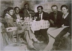 """Hemingway with Parisian expatriate friends. Harold Loeb (left) served as model for Robert in """"A Sun Also Rises."""" Hadley is on right."""