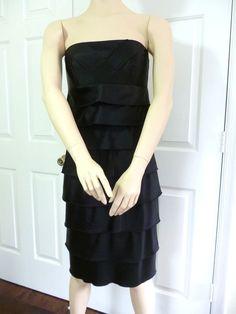CALVIN KLEIN Women's Black Satin Fully Lined Shutter Ruffle Strapless Dress 6 #CalvinKlein #EmpireWaist #Cocktail