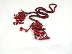 Black red beads crochet rope necklace lariat by RebekeJewelryShop, $55.00