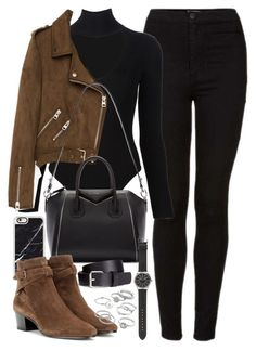 """Outfit with black jeans, brown suede jacket and boots"" by ferned ❤ liked on Polyvore featuring Topshop, Cushnie Et Ochs, Freebird, Casetify, Givenchy, J.Crew, Yves Saint Laurent, H&M and Candie's"