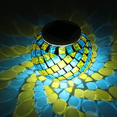Glass Ball Light, GLISTENY Solar Power Glass Light Color Changing Lights LED Night Light Mosaic Waterproof For Indoor or Outdoor Decorations Party Patio Lawn Garden Broken Mirage