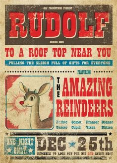 Vintage #Christmas Retro Posters.  via Etsy these are gorgeous! #rudolph