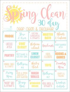 Spring Cleaning Calendar--Get your house clean in a month!