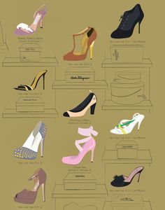 The Many Shoes of Carrie Bradshaw's Closet Infographic by Pop Chart Lab (via The Terrier and Lobster)