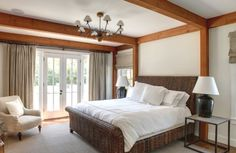 Master bedroom with beautiful French doors and windows