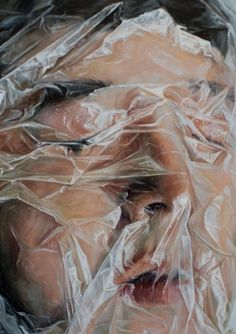 People Covered with Plastic Paintings by Maria Tiecher