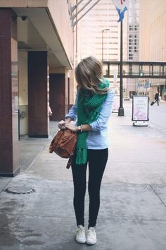Green scarf, chambray shirt, dark jeans, and white chucks. Freaking adorable Saturday outfit.
