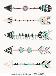 A set of five arrows, tribal decoration in black and mint. Tribal Arrows, Tribal Art, Tribal Style, Inspiration Artistique, Arrow Decor, Arrow Tattoos, Classroom Themes, Native American Art, Body Art Tattoos