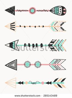 tribal arrow | set of five arrows, tribal decoration in black and mint. Vector ...