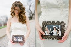 Bride with mom's wedding picture...Perfect for me to have a picture with my mom!!!
