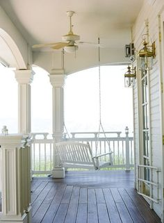 I need a porch swing and I have the perfect spot!  Reminds me of my grandmothers house, when the house was too full, we flowed out onto the porch!