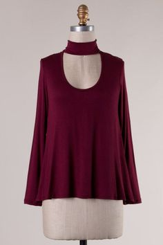 Swoop Neck Cutout Front Top (Burgundy)