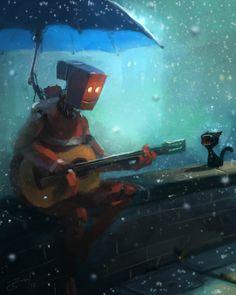 robot guitar cat yowling rain umbrella funny photoshop painting digital art humor cute character