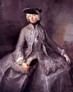 Princess Anna Amalia of Prussia November 1723 – 30 March by Antoine Pesne was Princess-Abbess of Quedlinburg. She was one of ten surviving children of King Frederick William I of Prussia and Sophia Dorothea of Hanover. 18th Century Clothing, 18th Century Fashion, 17th Century, Riding Habit, Moda Retro, Rococo Fashion, Vintage Fashion, Hunting Clothes, Fashion History