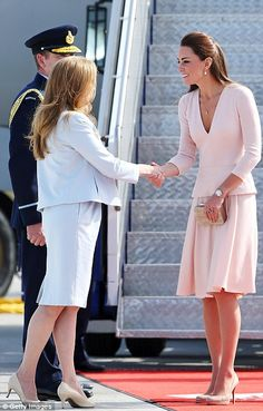 The Duchess of Cambridge is greeted at RAAF Base Edinburgh, to Adelaide's north as she arrives for the next stop in the royal tour of Austra...