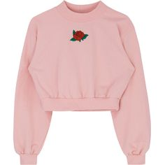 Embroidered Rose Mock Neck Crop Sweatshirt (11.525 HUF) ❤ liked on Polyvore featuring tops, hoodies, sweatshirts, mock neck top, pink crop top, rose tops, embroidery top and pink sweatshirts