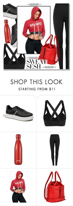 """Sweat Sesh: Gym Style"" by gamiss ❤ liked on Polyvore featuring S'well, Mellow World, casual, sporty, zaful, gamiss and sweatsesh"