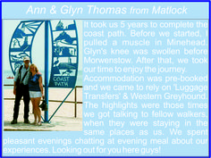 Ann and Glyn Thomas from Matlock in Derbyshire - South West Coast Path completers!
