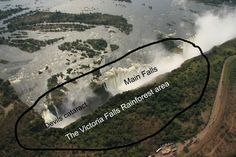 Area showing the Devils cataract, main falls and the rain forest at Victoria Falls